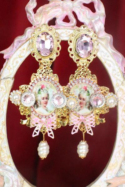 7531 Marie Antoinette Fan Pearl Cameo Elegant Earrings