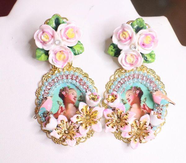 SOLD! 7532 Young Marie Antoinette Aqua Bird Roses Cameo Elegant Earrings