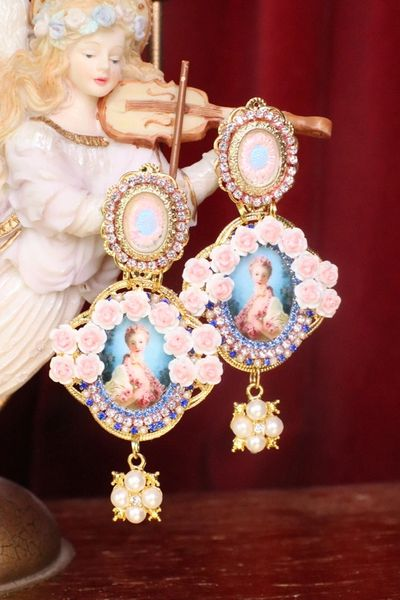 7535 Young Marie Antoinette Blue Small Roses Cameo Elegant Earrings