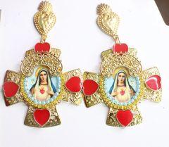 7536 Virgin Mary Cross Sacred Heart Cameo Studs Earrings