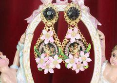 7537 Baroque Cherubs Angels Flowers Black Cameo Studs Earrings