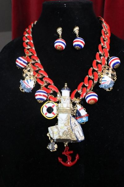 7539 Set Of Nautical Ocean 3D Effect Lighthouse Charms Necklace+ Earrings