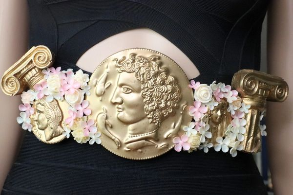 7544Baroque Roman Coin Flower Blossom Embellished Waist Gold Belt Size S, L, M