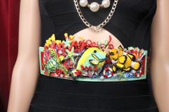 7548 Art Jewelry Nautical Hand Painted Fish Coral Reef Waist Belt Size S, L, M