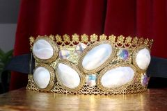 SOLD! 7551 Art Jewelry Nautical Genuine Mother Of Pearls Gemstones Corset Waist Belt Size S, L, M