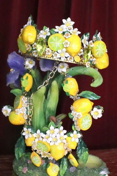 SOLD! 7553 Baroque Runway Sicilian Vivid Lemon Fruit Hand Painted Crown