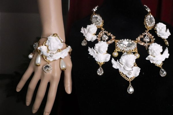 7557 Baroque Chubby White Cherub Clear Crytal Massive Bracelet