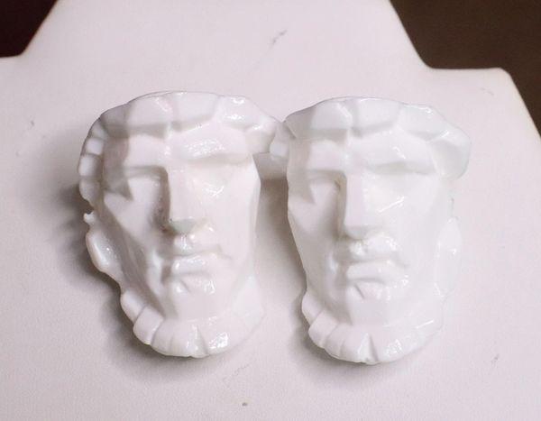 7558 Greek Roman Statue Face White Earrings