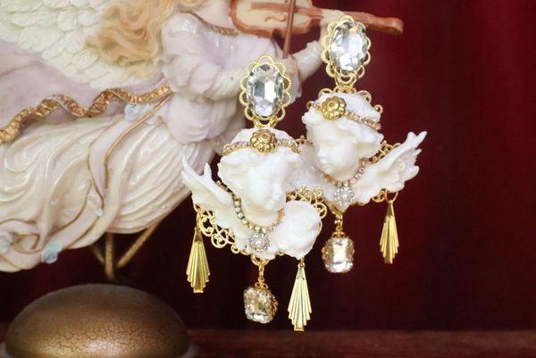 7561 Baroque White Large Chubby Cherubs Angels Dangle Earrings
