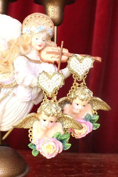 7562 Baroque Raphael Cherubs Pearl Heart Hand Painted Earrings