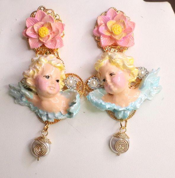 7563 Baroque Chubby Pastel Cherubs Hand Painted Earrings