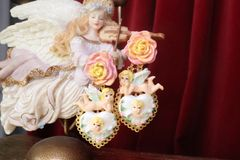 7564 Baroque Chubby Pastel Cherubs Hearts Hand Painted Earrings