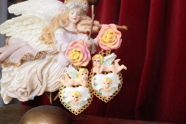 7564 Baroque Chubby Pastel Cherubs Hearts Hand Painted Earrings