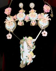 SOLD! 7565 Set Of Rococo Hand Painted Cherubs Angels Harp Massive Necklace+ Earrings