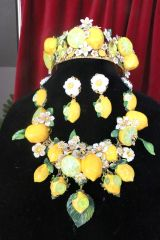 SOLD! 7572 Set Of Baroque 3D Effect Lemon Fruit Bee Statement Necklace+ Earrings