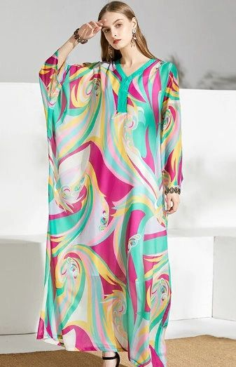 7578 2 Colors Designer Inspired Runway Abstract Print Caftan Maxi Dress