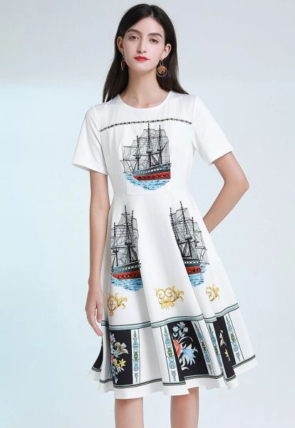 7579 Designer Inspired Runway Nautical Print White Midi Dress