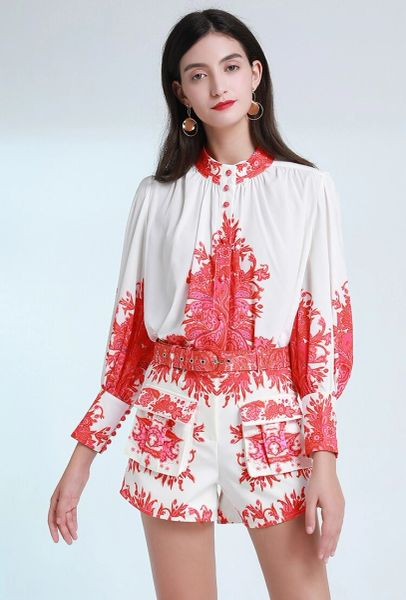 7581 Designer Inspired Runway Folk Blouse+ Shorts Twinset