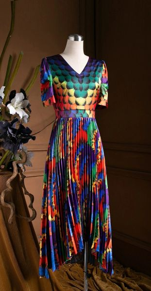 7582 Designer Inspired Runway Rainbow Print Pleated Midi Dress