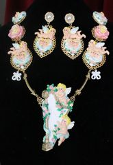 7583 Set Of Rococo Hand Painted Cherubs Angels Harp Massive Necklace+ Earrings