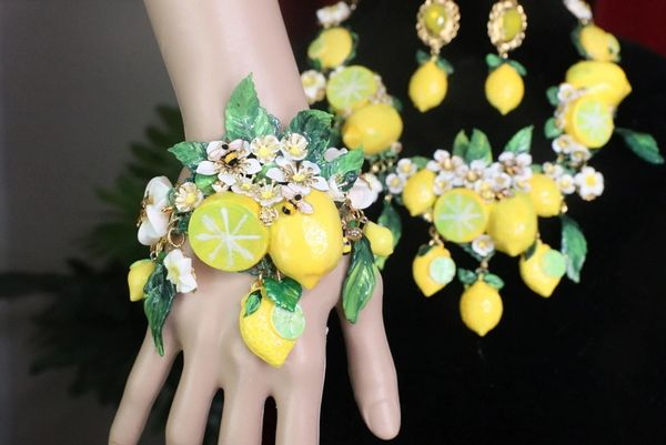 SOLD! 7589 Baroque Vivid Lemon Fruit Flower Blossom Ladybug Massive Bracelet