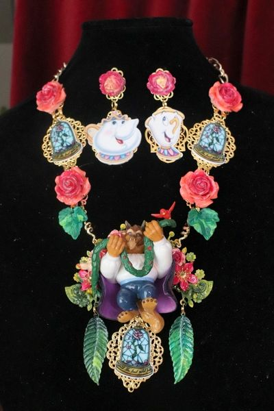 7590 Set Of Art Jewelry 3D Effect Beauty And The Beast Statement Necklace+ Earrings