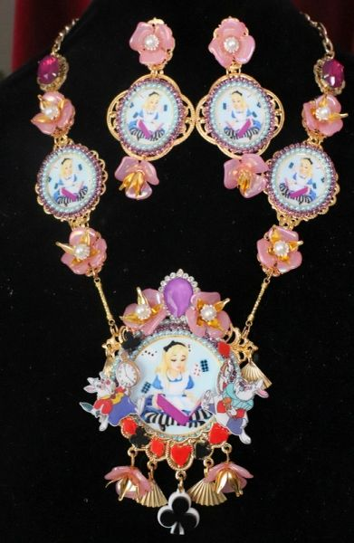 7593 Set Of Alice In Wonderland Rich Fuchsia Light Blue Adorable Necklace+ Earrings