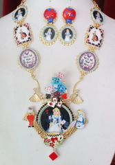 7594 Set Of Alice In Wonderland Cards Adorable Necklace+ Earrings