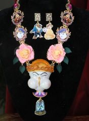 7596 Set Of Art Jewelry 3D Effect Beauty And The Beast Chip Statement Necklace+ Earrings