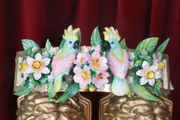 SOLD! 7598 Art Nouveau Hand Painted Pearlish Parrots Tropical Dona Anna Flowers Embellished Waist Gold Belt Size S, L, M