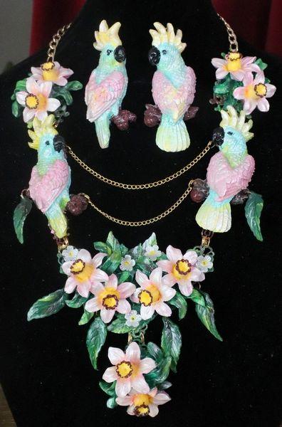 SOLD! 7599 Art Nouveau Pastel Parrots Dona Anna Cherry Blossom Flower Hand Painted Necklace