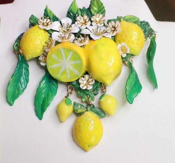 SOLD! 7600 Baroque Sicilan Lemon Fruit Flower Blossom Massive Brooch