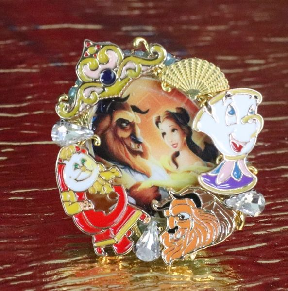 7606 Beauty And The Beast Enamel Cocktail Adjustable Ring