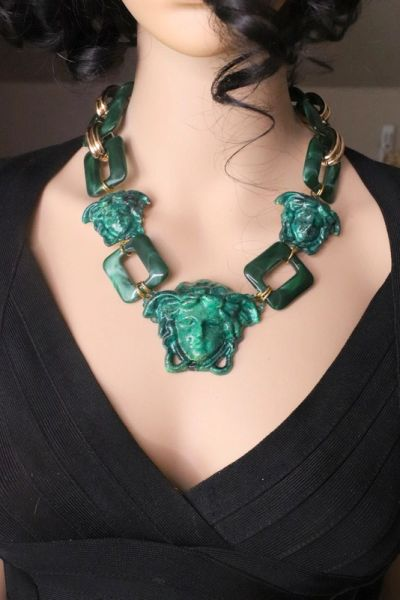 7608 Hand Painted Baroque Malachite Effect Medusa Head Statement Necklace