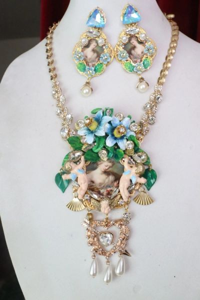 SOLD! 7610 Set Of Rococo Venus And Puti Cherubs Hand Painted Necklace+ Earrings