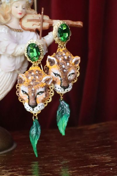 7613 Baroque Hand Painted Vivid Leopard Animal Leaf Earrings