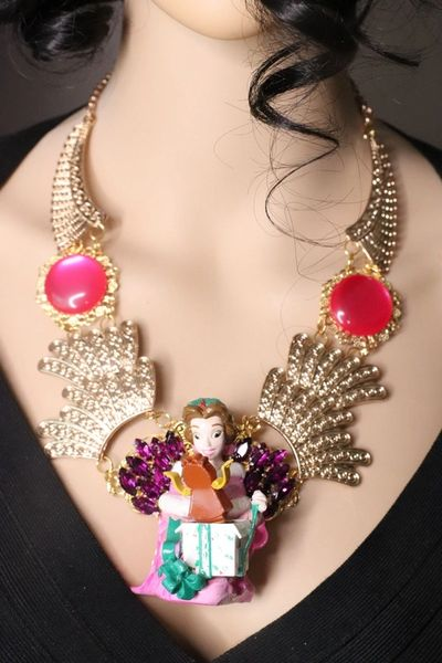 7616 Art Jewelry 3D Effect Beauty And The Beast Beauty Statement Necklace