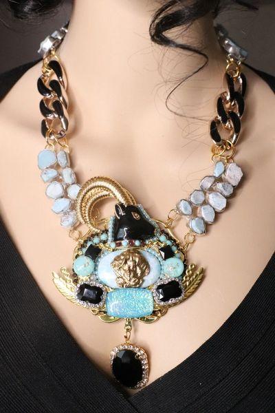 SOLD! 7619 Art Jewelry Ram Art Deco Genuine Larimar Necklace