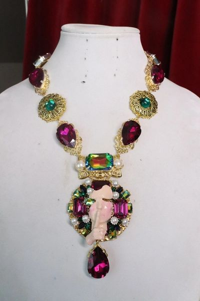 7620 The Great Gatsby Face Large Rhinestones Massive Necklace