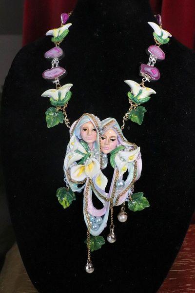 SOLD! 7621 Art Nouveau Faces Lily Calla Genuine Agates Massive Necklace