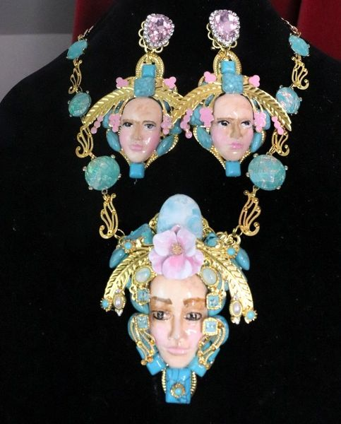 7624 Art Jewelry Art Nouveau Face Genuine Larimar Turquoise Gemstones Massive Necklace