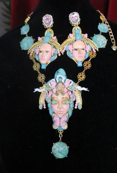 7626 Art Jewelry Art Nouveau Face Genuine Turquoise Gemstones Massive Necklace