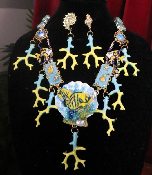 SOLD! 7631 Set Of Nautical Tropical fish Coral Reef Hand Painted Necklace+ Earrings