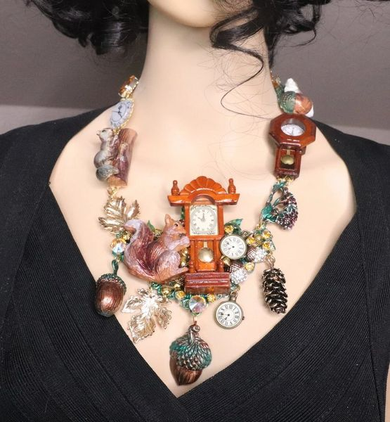 SOLD! 7635 Set Of Art Jewelry 3D Effect Squirrel Clock Oak Necklace+ Earrings