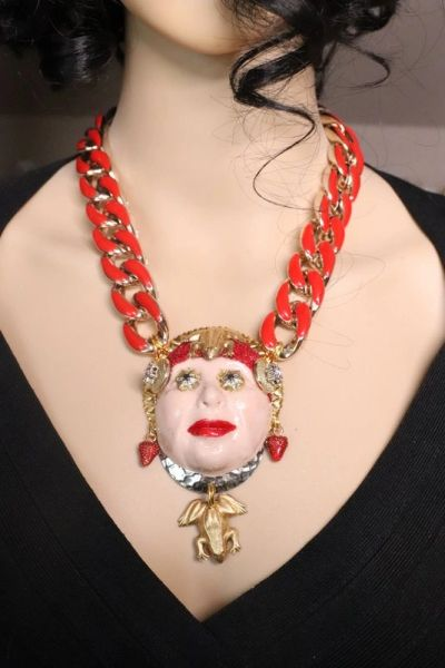 SOLD! 7638 Art Jewelry Steampunk Ugly Face Frogs Unusual Necklace