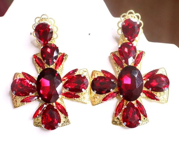 7639 Alta Moda Baroque Red Rhinestones Cross Earrings