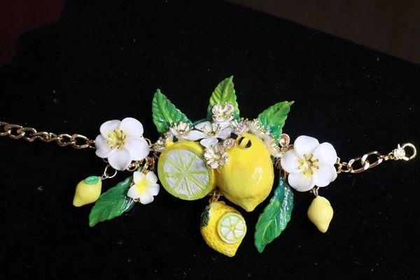 7640 Baroque Vivid Lemon Fruit Flower Blossom Ladybug Massive Bracelet
