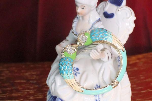 7642 Baroque Enamel Parrots Massive Bracelet