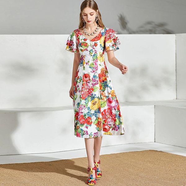 7644 Designer Inspired Runway Rainbow Print White Midi Dress