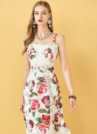 7645 Designer Inspired Runway Floral Lace Print White Midi Dress